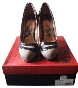 Naughty Monkey Fabric Patent Studded Brown Pumps