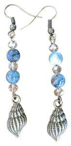 Other Handmade Lapis Lazuli Seashell Earrings with Swarovski Crystals