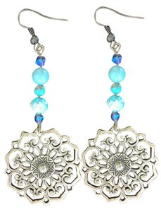 Other Handmade Turquoise Earrings with Swarovski Crystals
