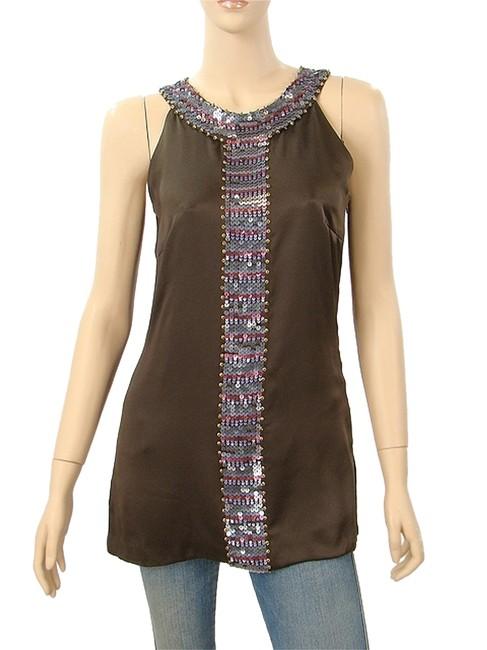 Abaete Brown Pink - Silk Sequined Tunic Tank Top/Cami Size 6 (S) Abaete Brown Pink - Silk Sequined Tunic Tank Top/Cami Size 6 (S) Image 1