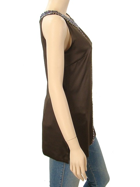 Abaete Sateen Satin Sequin Two-tone Beaded Striped Top Brown, Pink