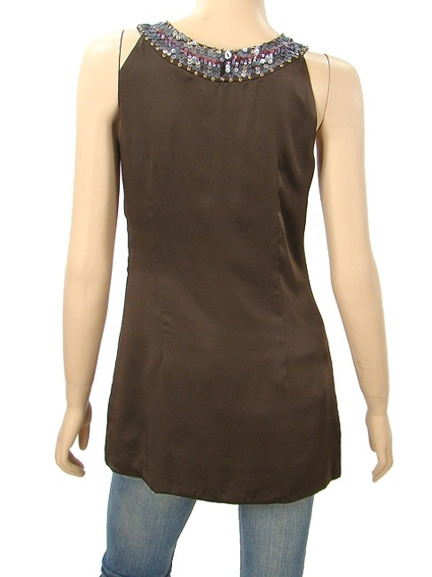 Abaete Brown Pink - Silk Sequined Tunic Tank Top/Cami Size 6 (S) Abaete Brown Pink - Silk Sequined Tunic Tank Top/Cami Size 6 (S) Image 4