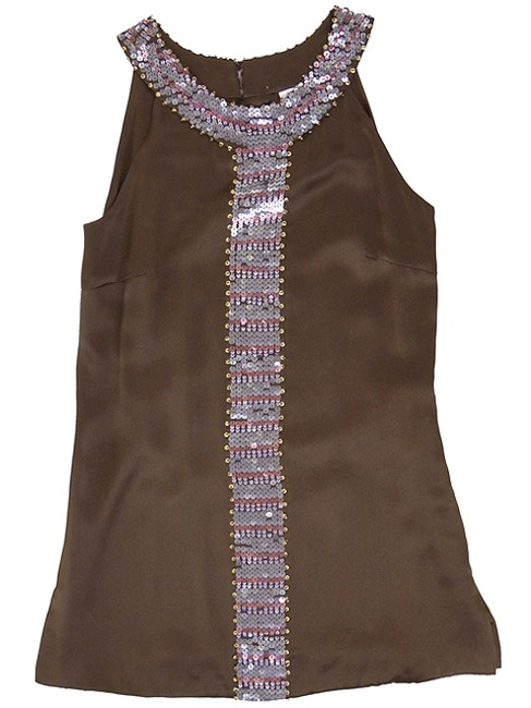 Abaete Brown Pink - Silk Sequined Tunic Tank Top/Cami Size 6 (S) Abaete Brown Pink - Silk Sequined Tunic Tank Top/Cami Size 6 (S) Image 5
