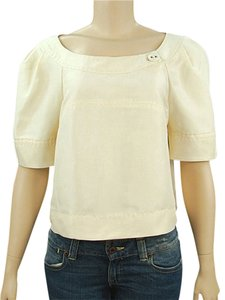 Alberta Ferretti Crepe A-line Crop Silk Cotton Rayon Sweetheart Top Cream