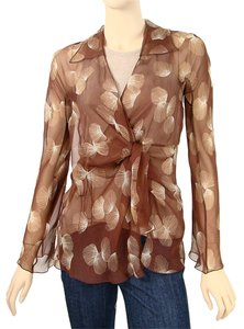 Alberta Ferretti Feather Print Spring Drape Draped V-neck Sheer Silk Chiffon Top Rust