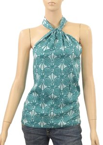 Allegra Hicks Print Spring Summer Silk Turquoise Halter Top