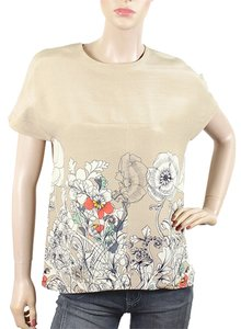 Cacharel Print Silk Faille Floral Pullover Retro Top Tan