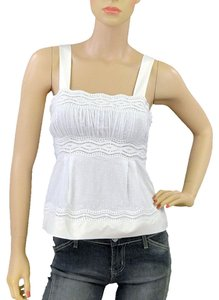 Catherine Malandrino Embroidered Crochet Empire Waist Cotton Silk Summer Top White