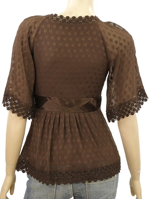 Catherine Malandrino Jacquard Silk Embroidered Sheer Mesh Crochet Pleated Empire Waist Top Brown