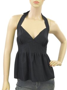 Chloe Halter Silk Pleated Empire Waist Top Black