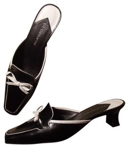Lc Flex Zone Genuine Leather black and white Mules