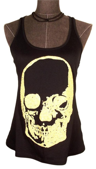 Item - Black Sequined/Beaded High/Low Skull Tee Tank Top/Cami Size 0 (XS)