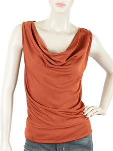 Costume National Cowlneck Sleeveless Shell Top Rust