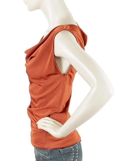 Costume National Cowlneck Sleeveless Shell Pullover Nylon Cowl Drape Draped Top Rust