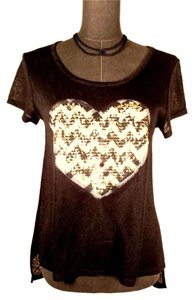 Heart N Crush High-low Burn-out Super Soft Hipster T Shirt Black w/cream & dark green sequins