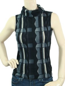 Costume National Print Sleeveless Turtleneck Top Black, Blue, Ivory