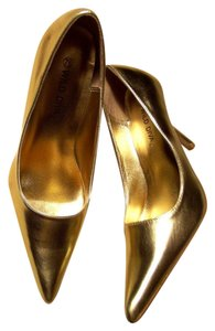 Wild Diva Metallic Stiletto Glam Retro Faux Leather Metallic Gold Pumps