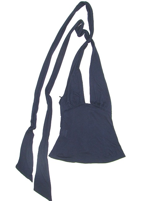 CoSTUME NATIONAL Jersey Sleeveless Sheer Evening Party Blue Halter Top