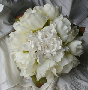 Ivory And White Peony Hand Tied Style Bridal Bridesmaid Bouquet