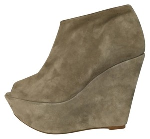 Topshop Suede Wedge Ankle Beige Boots