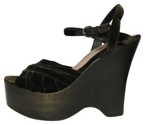 Miu Miu Velvet Chocolate Wedge Sandal Peep Toe Platforms