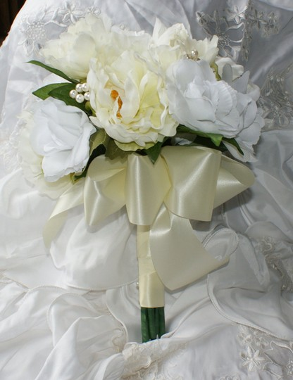 Ivory and White Rose Peony Bridal Bouquet In Silk Other