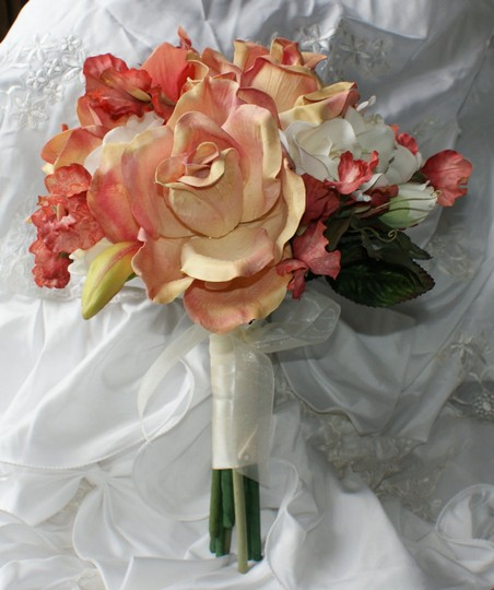 Rose Peach and Cream Bridal Bridesmaid Bouquet In Silk Other