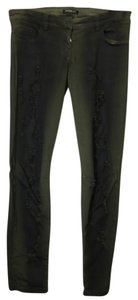 Balmain Distressed Denim Green Black Skinny Jeans