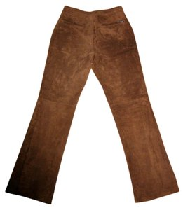New York & Company Leather Suede Straight Pants brown