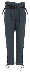 Isabel Marant Linen Lace Up Leather Capri/Cropped Pants