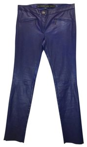 Barbara Bui Leather Skinny Pants Blue