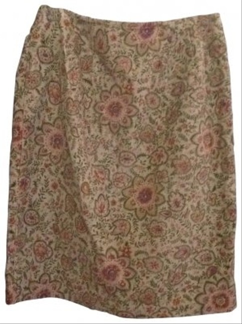 Talbots Casual Comfortable Corduroy Skirt beige, coral, light green
