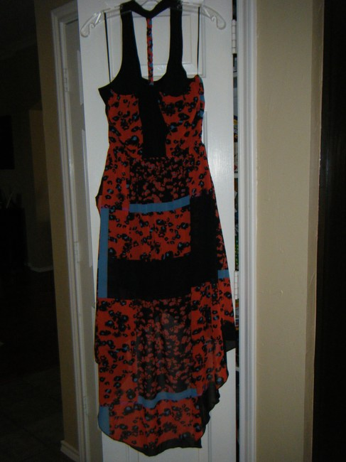 Orange, Black and Aqua Maxi Dress by Romeo & Juliet Couture