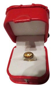 David Yurman Oval Collection East/West Citrine SS/18k YG Ring, Size 6.75