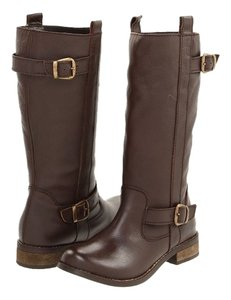 Mia Shoes Rocker Leather Gold Hardware Dark Brown Boots