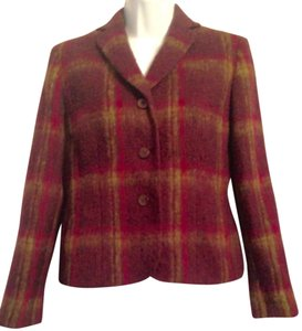 Kasper Wool-blend Vintage Polyacrylic Polyamide Tweed Tartan Hot Pink Plum, green, and fuchsia Blazer