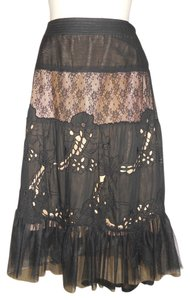 Rebecca Taylor Lace Tulle Tiered Boho Skirt black