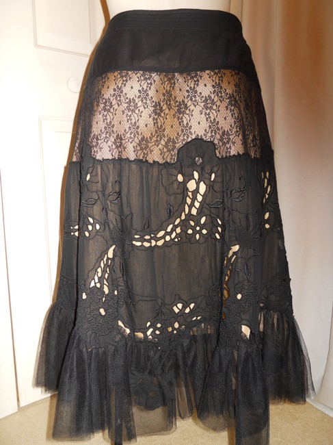 Rebecca Taylor Lace Tulle Tiered Boho Skirt black Image 1
