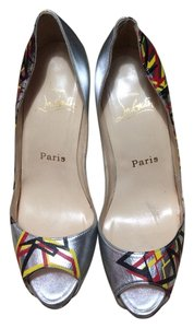 Christian Louboutin Leather Peep Toe Very Prive Silver Pumps