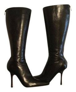 Jimmy Choo Kid Leather Orchid Black Boots