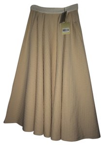 Torn by Ronny Kobo Midi Textured Swing Skirt almond