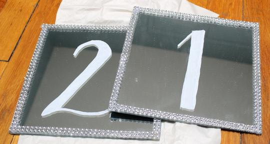 Silver Mirror Table Numbers - Wedding Table Setting Numbers W/ Stands Image 1