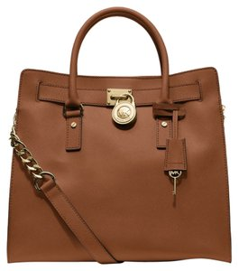 Michael Kors Saffiano Leather Tote in LUGGAGE