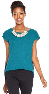 Bar III Marled Knit Cap Sleeves Top Sea Cove Combo