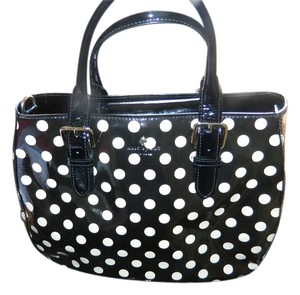 Kate Spade Leather Polka Dot Patent Leather Crossbody Satchel in Black, White