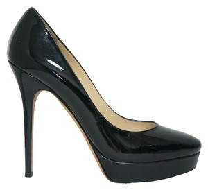 Jimmy Choo Designer Cosmic Patent Leather Platform Classic Heel Fashion Runway Luxury Black Pumps