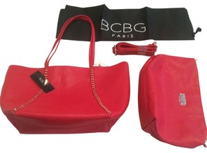 BCBG Paris 100% Reversible Tote in Red/Off White