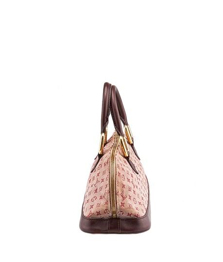 Louis Vuitton Mini Lin Alma Satchel in Burgundy and Pink Image 2