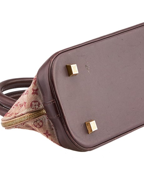 Louis Vuitton Mini Lin Alma Satchel in Burgundy and Pink Image 4