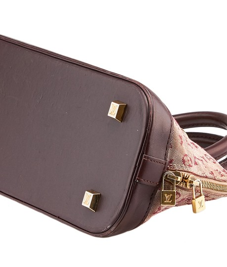 Louis Vuitton Mini Lin Alma Satchel in Burgundy and Pink Image 5